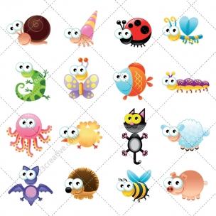 Happy animals vector pack