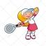 tennis vector, sport, racket, racquet, girl, ball, t shirt, skirt, shoes, cartoon