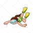 swimming vector, swimmer, fins, sport, mascot, cartoon
