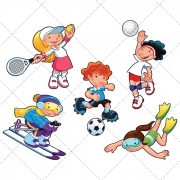Sport vector, sports, winter sport, summer, girl, boy, people, illustration, cartoon