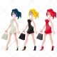 Female vector pack, girl, woman, color illustration, royalty free vector