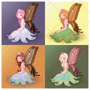Fairy vector pack, butterfly vector, girl, girlish, fantasy vector