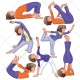 Yoga vector pack, sport vector, fitnes, pilates, training, clothing, cloth