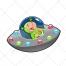 Space vector, alienvector, character vector, child illustration, ufo vector