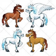 Mythology creature vectors, cartoon illustration, pegasus vector, horse