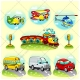 Vehicle vector pack, vehicle illustration, car, airplane, bus, train, helicopter, traffic light