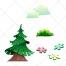 Evergreen vector, tree vector, flower, flowers, bush, cloud vectors