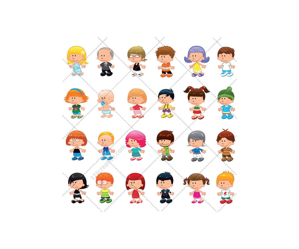 vector cartoon pack boy character baby woman vectors peoples illustration move mouse enlarge sport
