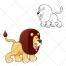 Lion vector, cartoon, animal vector, color