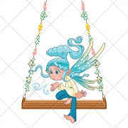 Elf vector, swing, cartoon, fantasy, magic illustration, fairy-tale vector