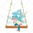 Elf vector, swing, cartoon, fantasy, magic illustration, fairy-tale vector