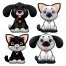 Cute animals illustration, vector pack, dog, cat, dogs, cats