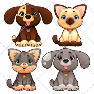 Dog and cat vector pack