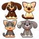 Cute animal vector, cartoon illustration, doggie, puppy, pet, kitten