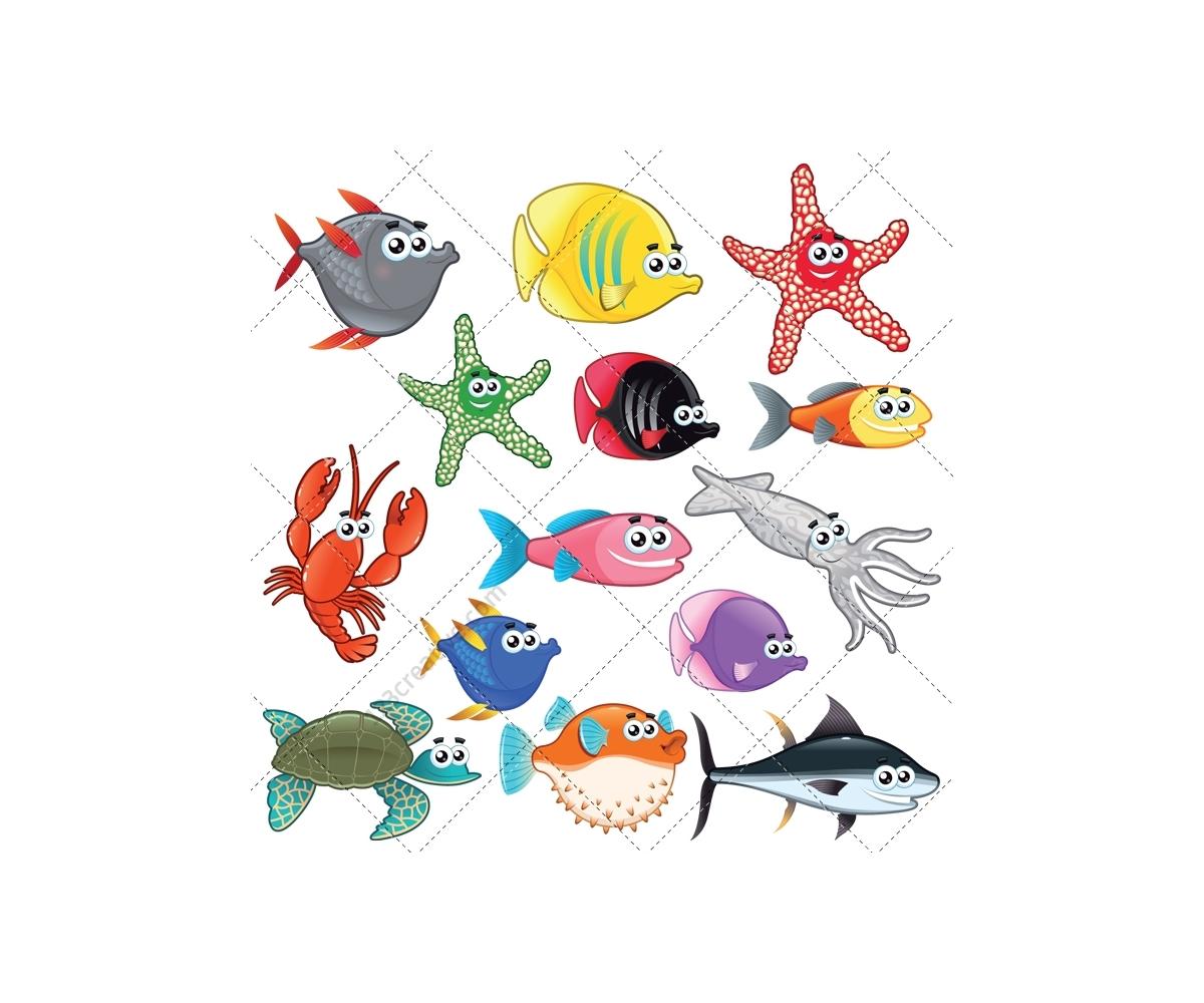 Sea animal vector pack (water turtle, aquatic, fish, crab ...