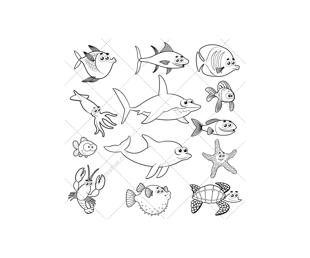 Line Drawing Of Water Animals : Coloring pages of animals that live in the water