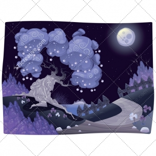 Night illustration with cherry tree