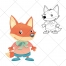 Fox vector, pet vector, animal, cub vector, cartoon
