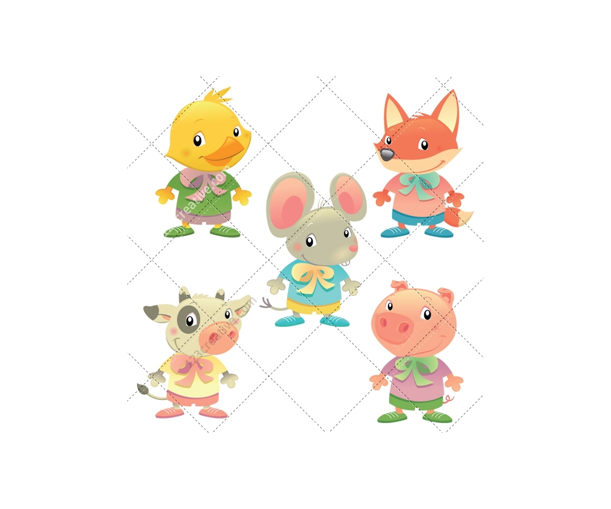 Cartoon illustrations with cute cartoon animals vector and ...