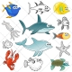 Sea animals vector pack