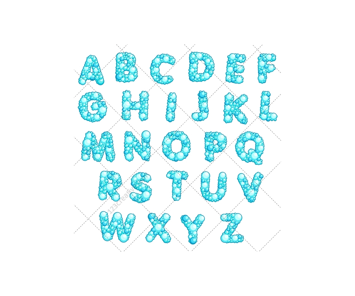 Font Vector Pack Bubble Letters Alphabet Abc