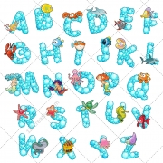 Font vector, letter, capital, type, abc, alphabet vector, animal vector
