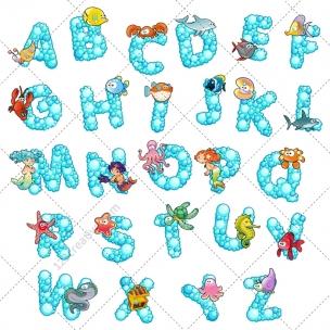 Bubble alphabet vector pack