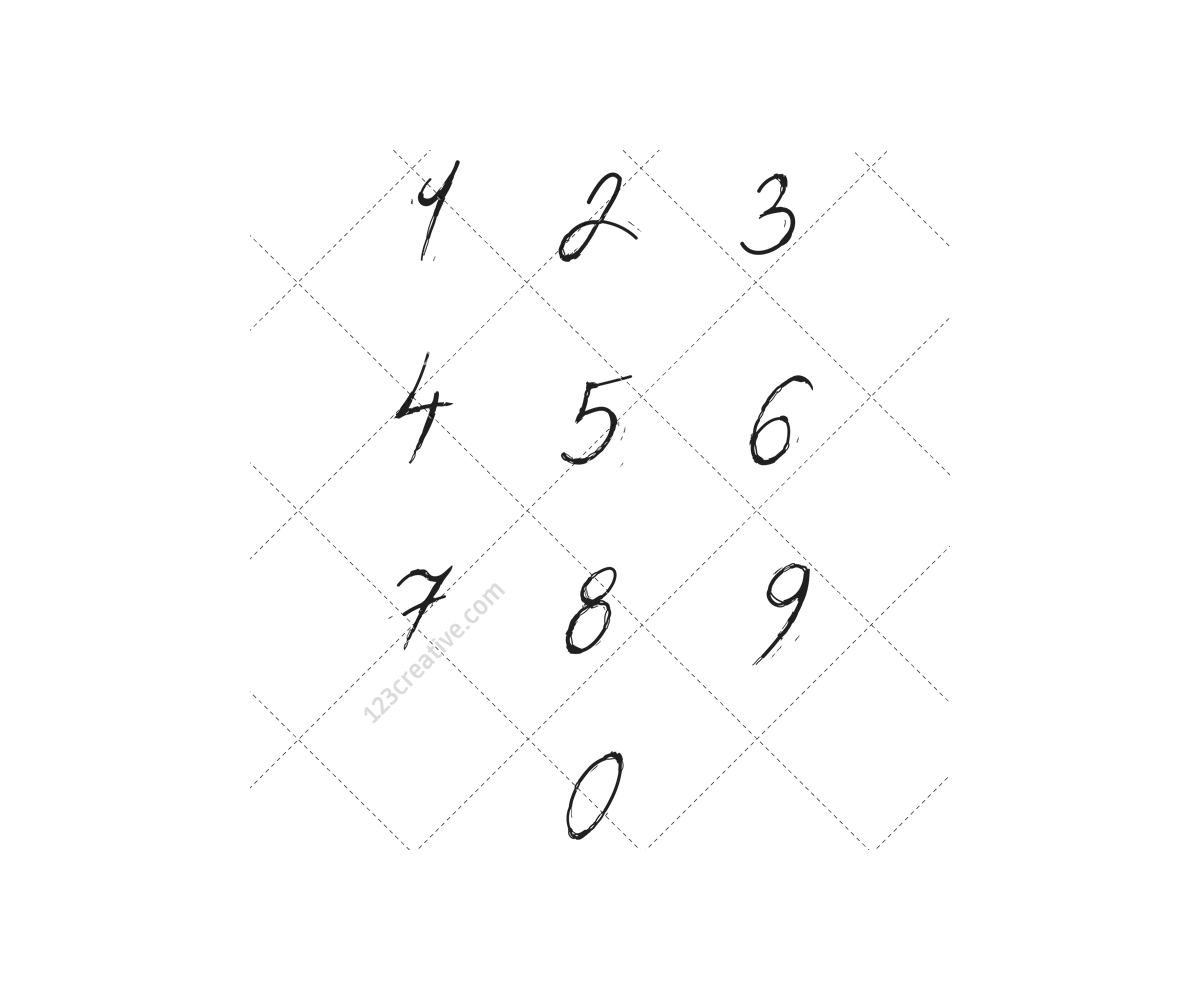 Number Vector Element Handwritten Font