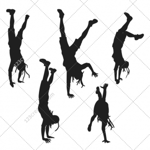 Breakdance silhouettes vector pack