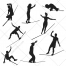 Gymnast silhouettes, gymnastics, silhouette, circus, vector pack