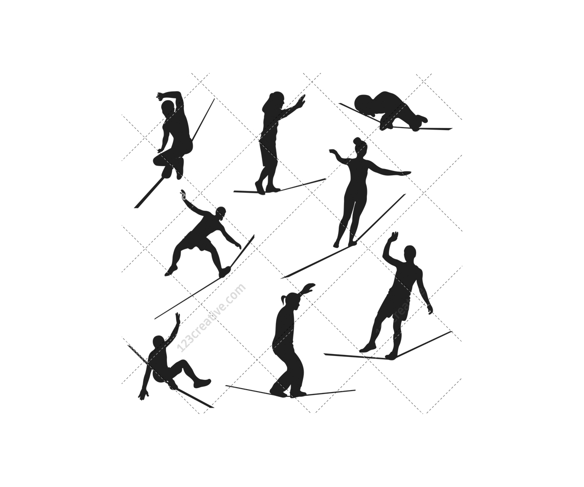 gymnast silhouettes gymnastics silhouette circus vector pack