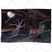 Landscape illustration, scary background, vector pack, spooky, cemetery, dark, tombstone