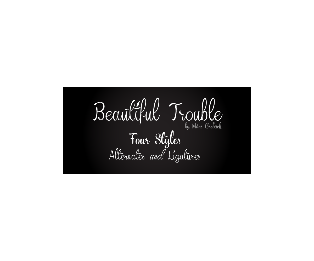 Calligraphy font beautiful trouble family sketched