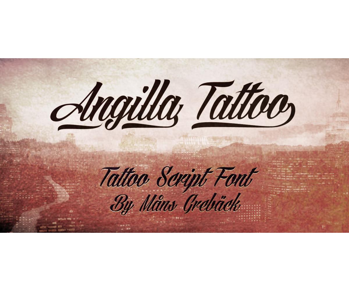 Calligraphy font agilla tattoo slated cursive italic