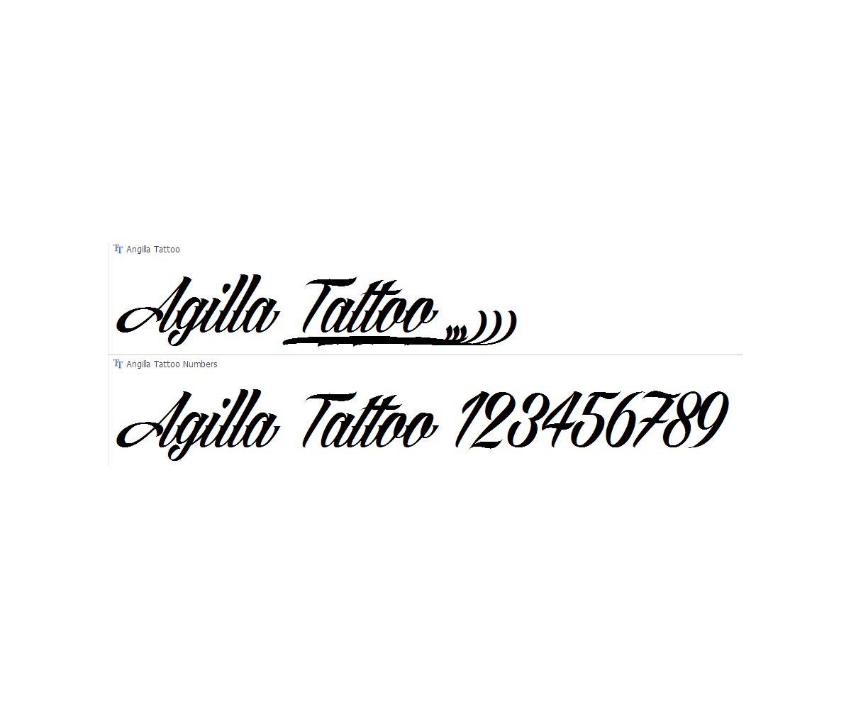 Calligraphy font agilla tattoo slated cursive italic Calligraphy text