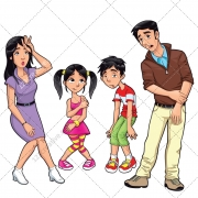 Family vector, sick family, parent, father, mother, son, daughter, people, woman, man, girl, boy