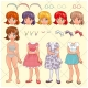 Avatar vector pack, girl, body, head, clothing, accessories, hair, young woman
