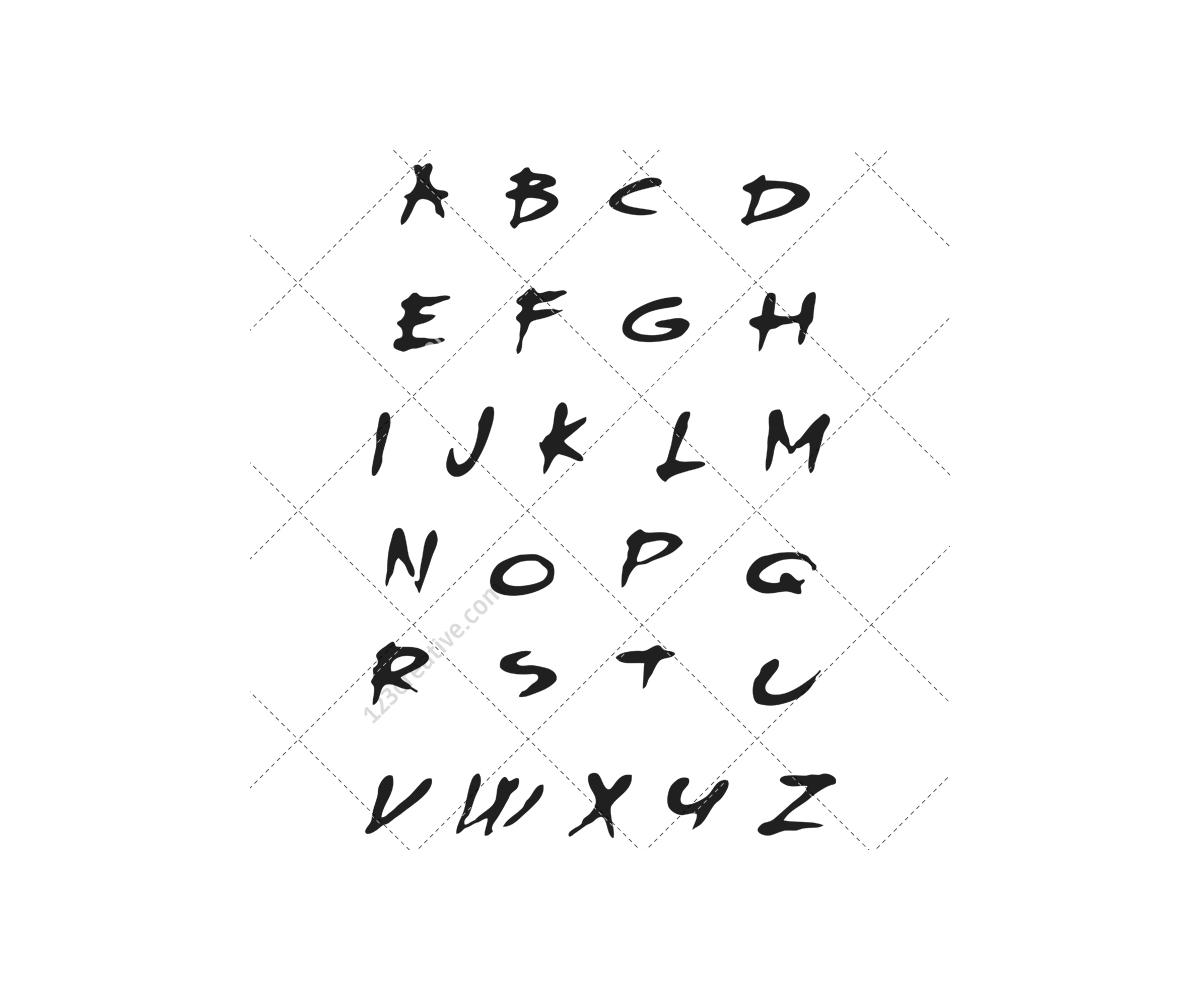 grunge alphabet vector pack