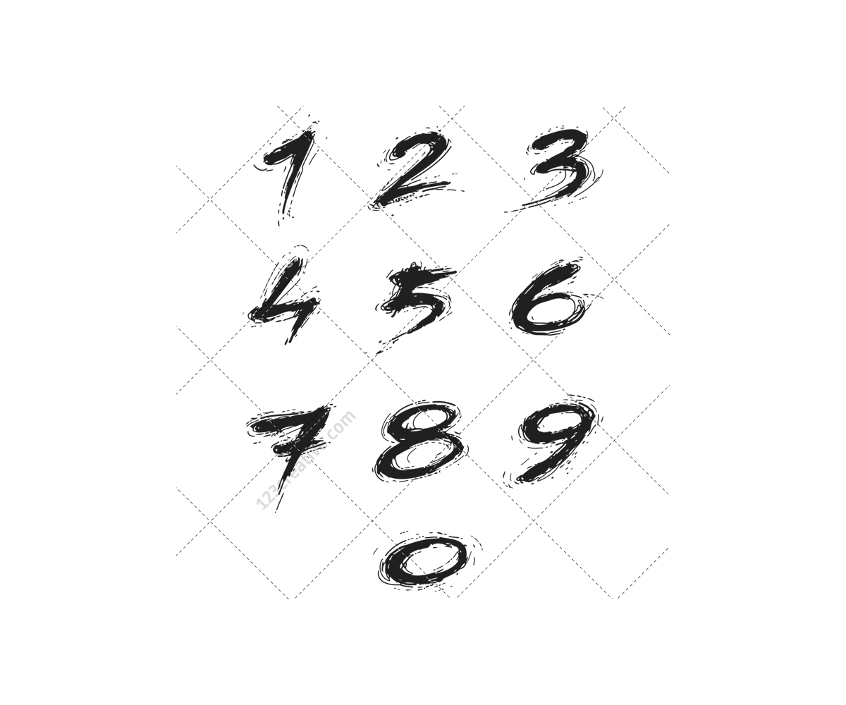 Handwritten Font Grunge Numbers Vector Bold Fat