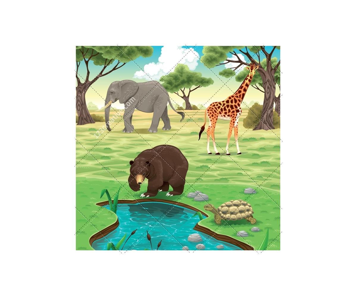 Landscape Illustration Vector Free: Exotic Animal Vector
