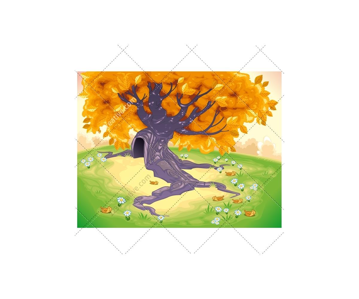Landscape Illustration Vector Free: Autumn Landscape Illustration