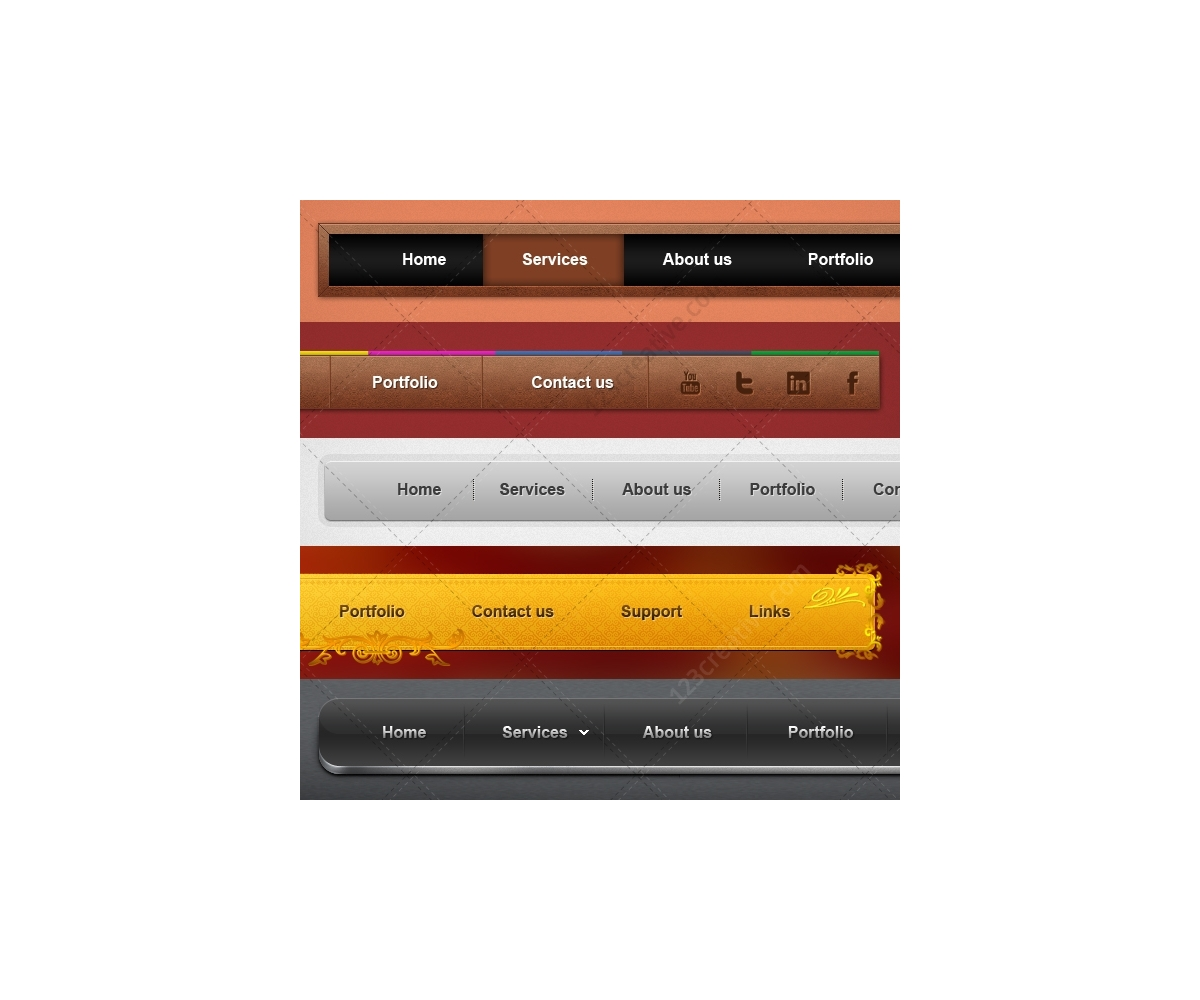 Design Squad Website >> Clean navigation bars - website navigation menus. Buy web navigation bar (wood, metal, modern)