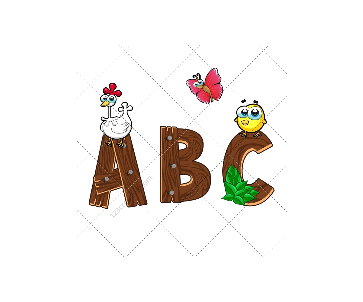wooden alphabet vector pack
