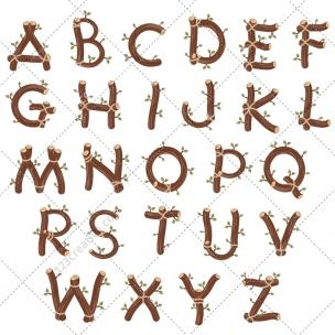 Natural wood alphabet vector pack