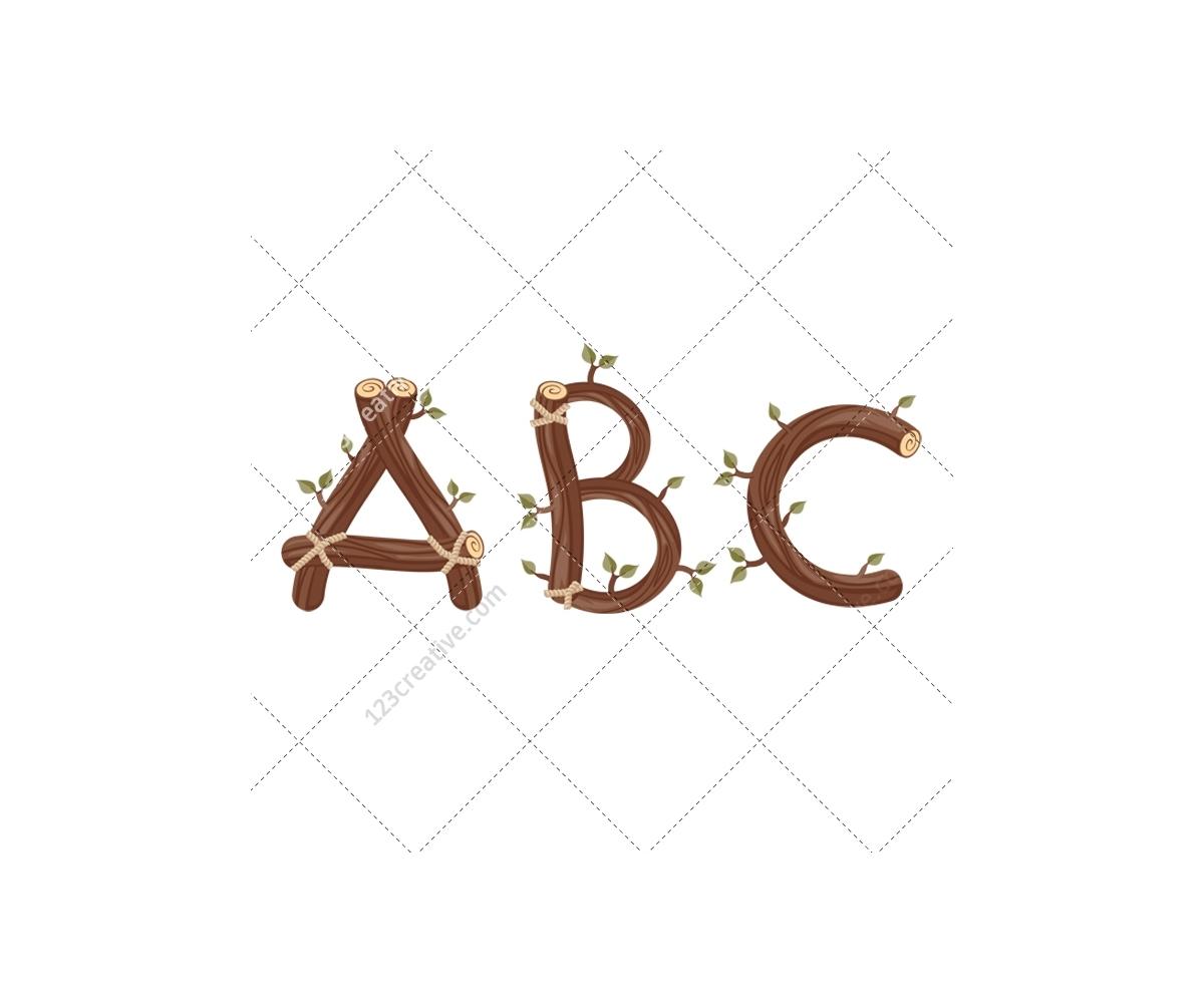 Download Wood alphabet vector pack - royalty free vectors (alphabet ...