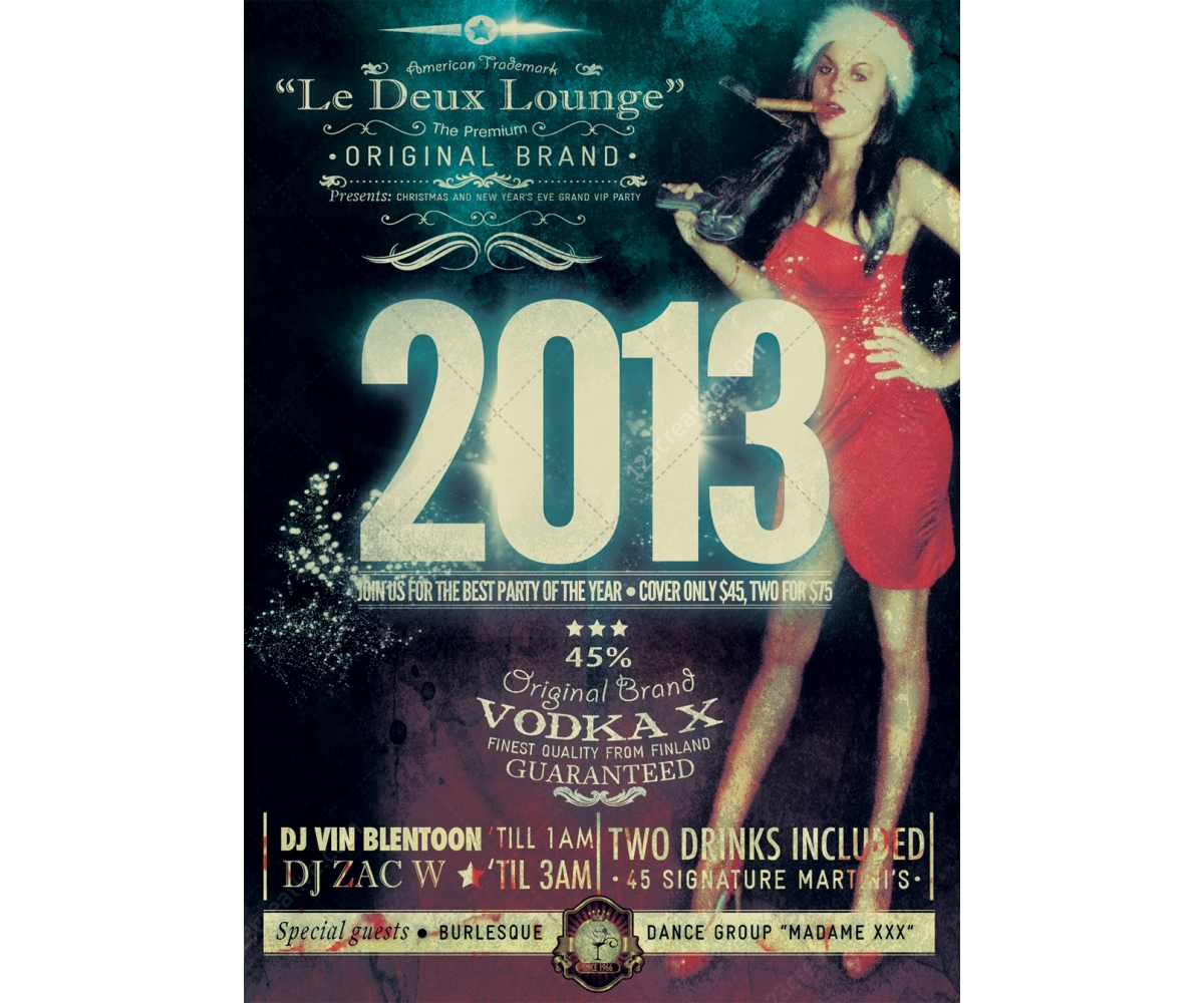 New Year Party Flyer Template Retro Style Flyer Vintage Poster - Buy flyer templates
