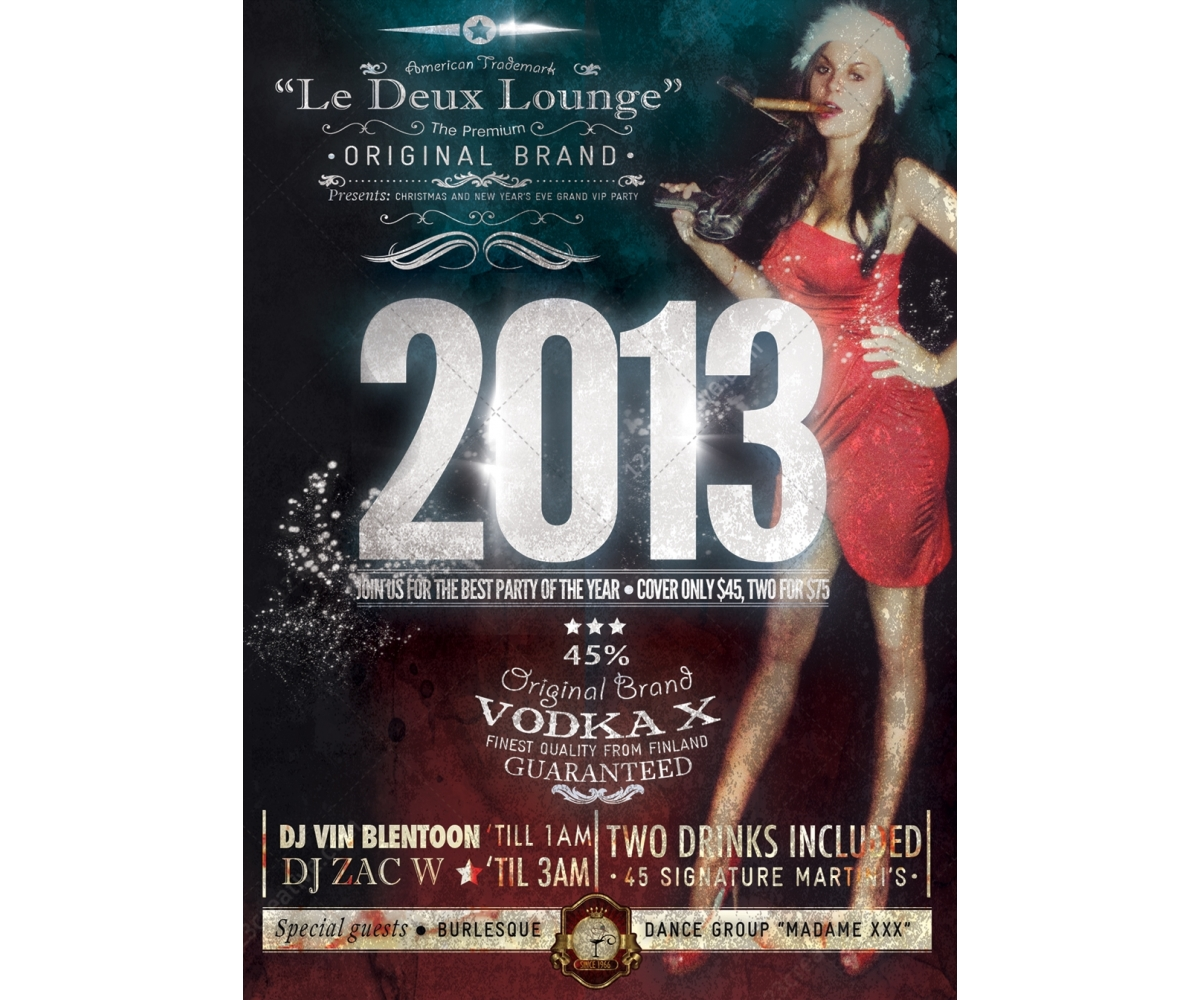New year party flyer template - retro style flyer, vintage poster ...