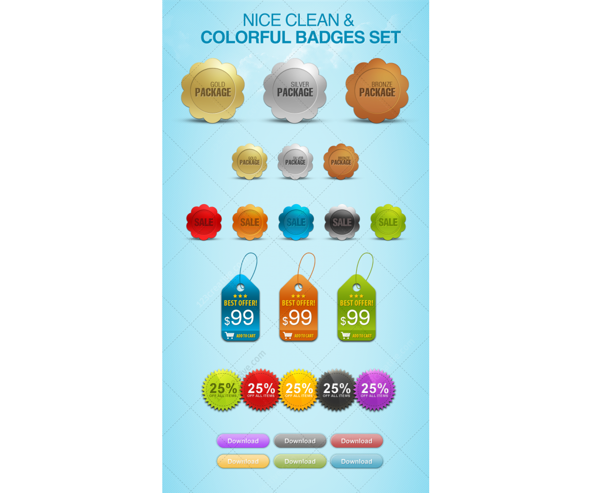 Design Squad Website >> Nice clean badges and buttons set - price tags, stickers, buttons, discount tags, badges psd ...