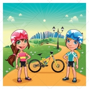 city illustration, town vector, buy vector, meadow vector, girl and boy vector, bike vector, bicycle vector, lamp vector, tree