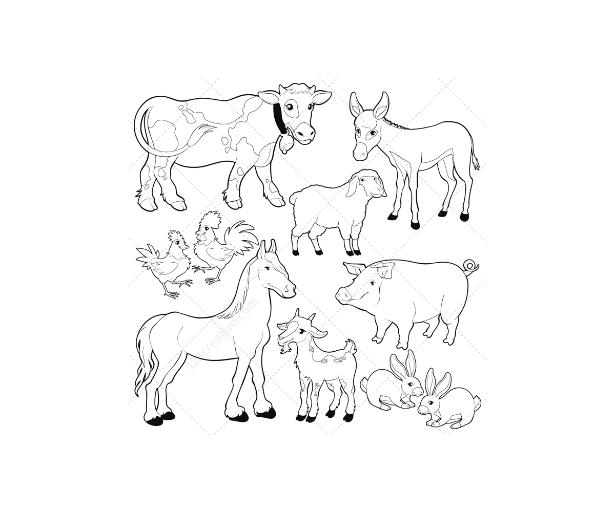 Free country barn coloring pages for Barn animals coloring pages